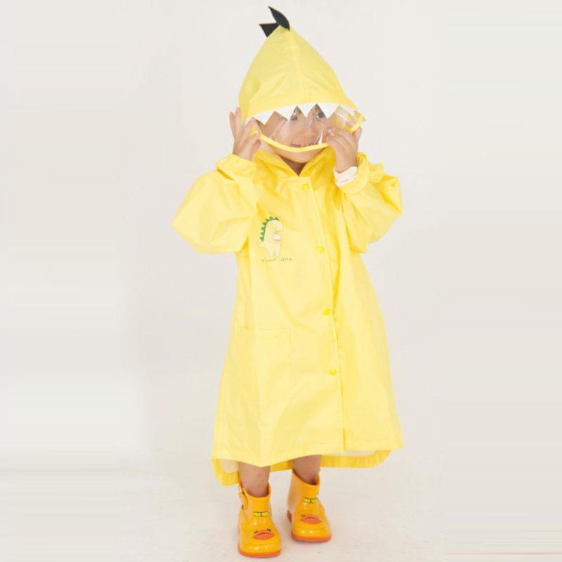 Kids Rain Jacket Dinosaur Lightweight Rainwear