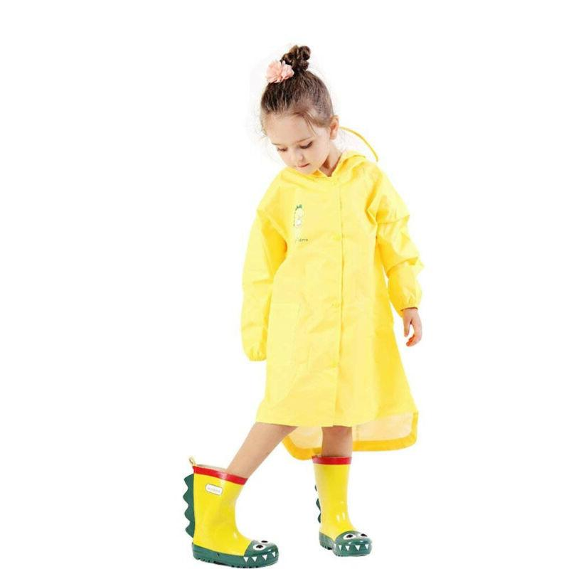 Kids Boy Rain Jacket Dinosaur Lightweight Rainwear Coat US