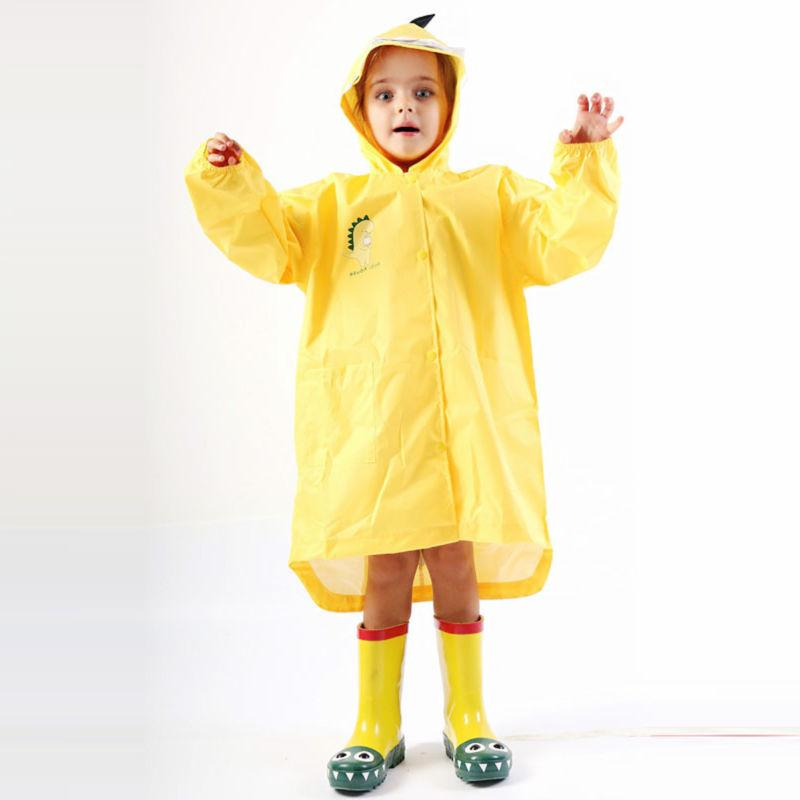 Kids Boy Girl Rain Jacket Dinosaur Lightweight Rainwear Slicker