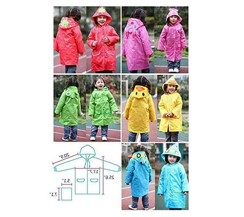 Kids Boys Rain Coat Poncho Waterproof Emergency Raincoat Protective US