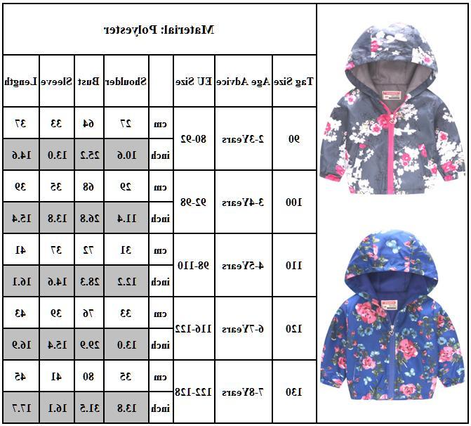 Kids Girls Winter Coat Hooded Zip Jacket Outwear