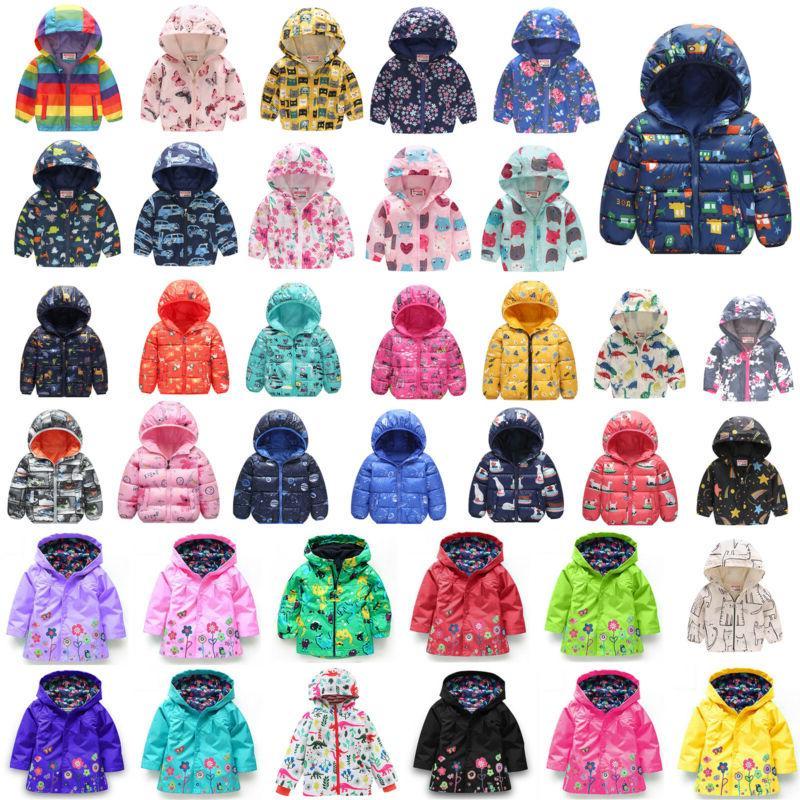 kids boys girls winter coat cartoon hooded
