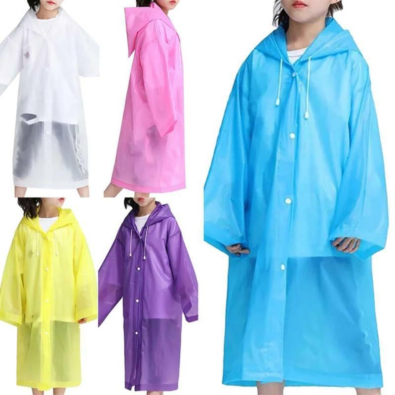 Kids Children Waterproof Raincoat Rainwear Hooded Poncho Pla