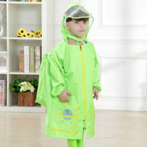 Kids Nylon Rain Hooded Boys Raincoat Waterproof Raincover US