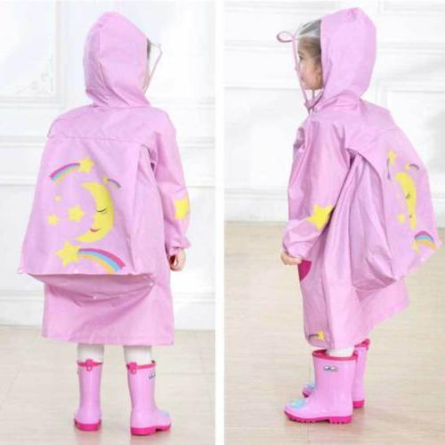 Kids Rain Hooded Poncho Raincoat Raincover For Girls