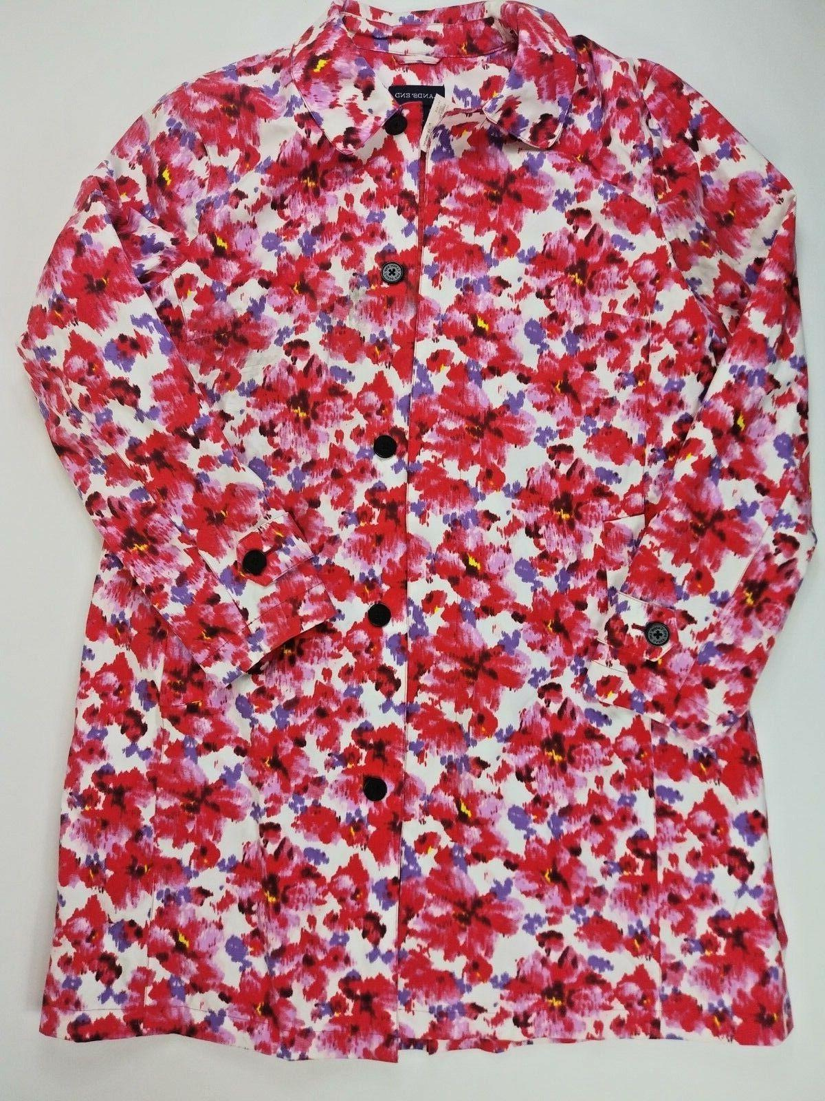 Lands End Womens 14- 16 Pink Floral Trench Jacket