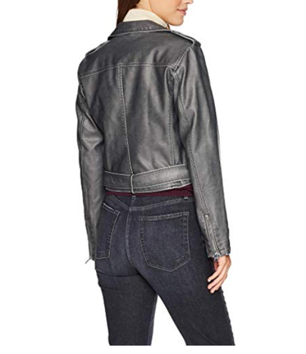 Asymmetrical Motorcycle Jacket- GREY-LARGE