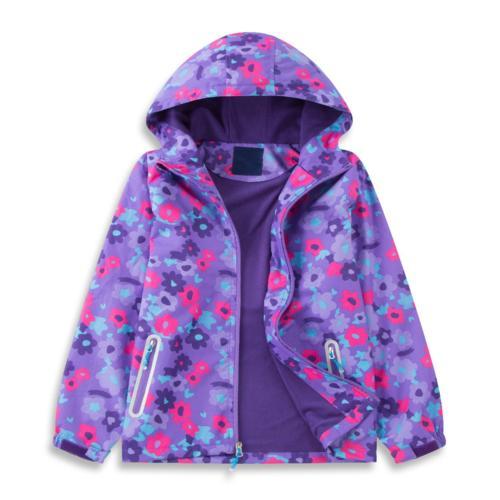 Star Flower Little Girls Rain Jacket Coats with Hood 12, Vio