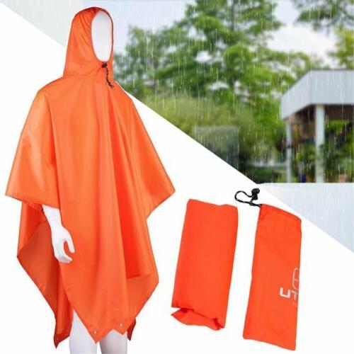 Long Outdoor Waterproof Rain Poncho Backpack Cover Tarp Hiking MA