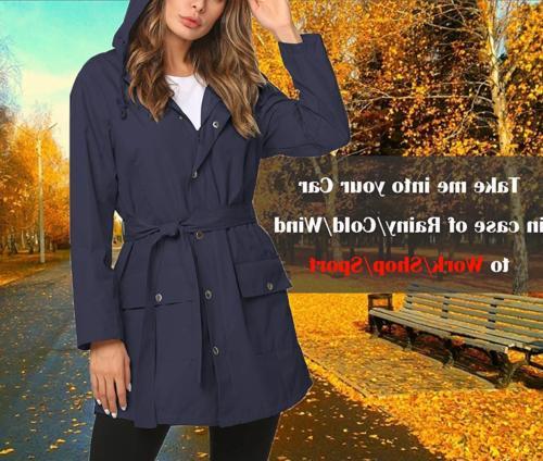 ZHENWEI Women Hooded Dress Rain Coats Girl