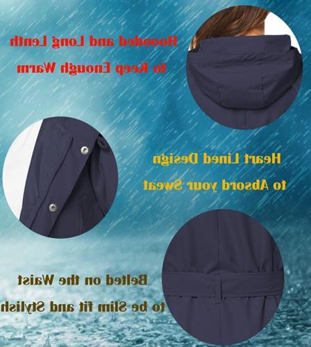ZHENWEI Long Rain Jacket Women Hooded Raincoat Dress Rain Tall Junior Girl