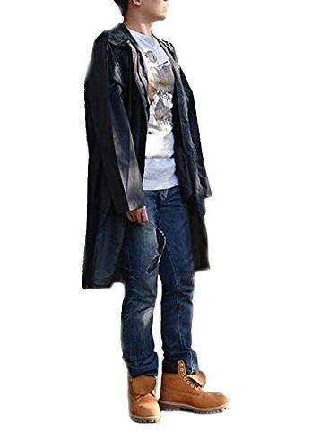 QZUnique Waterproof Zipper Rain Jacket Hood Black