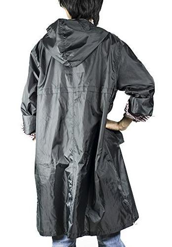 QZUnique Men's Fashion Waterproof Packable Jacket Poncho Hood Black