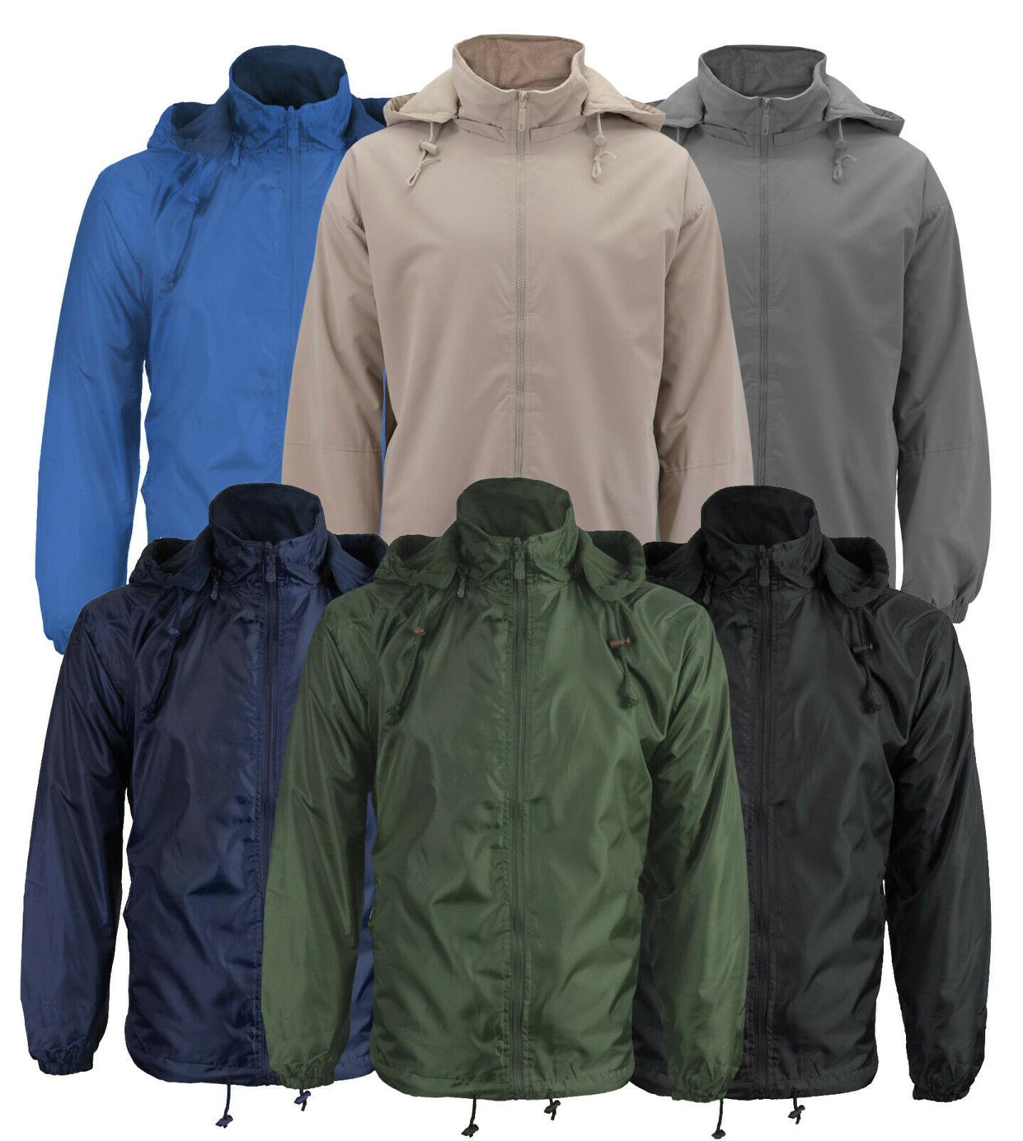 men s lined hooded windbreaker water resistant