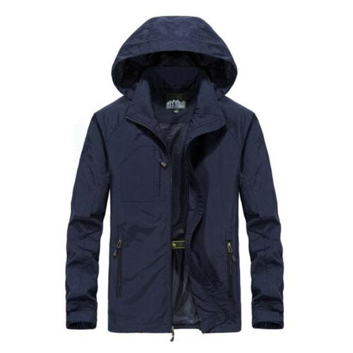 Mens Windproof Jacket Outdoor Hiking Mac Coat Outwear USA