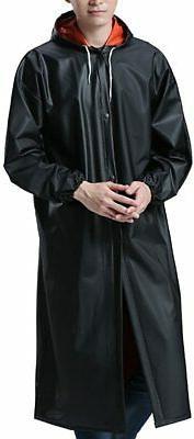 QZUnique Men's Women's Hooded PVC Soft Raincoat Outdoor Wate