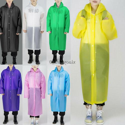 Men Women EVA Button Hooded Rain