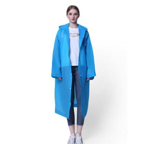 Men Women PE Hooded Raincoat Coat