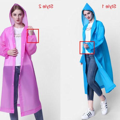 Men PE Hooded Raincoat Rain Coat