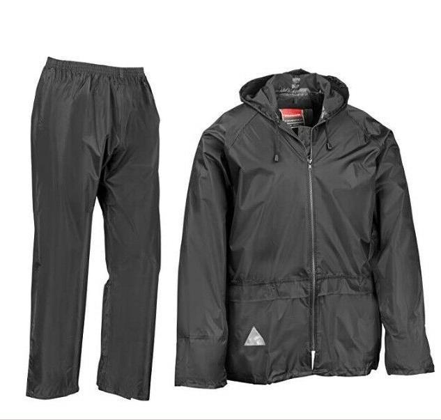 Mens Rain Heavy Weight Suit Waterproof Hoodie Set