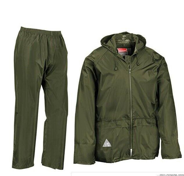 Mens Rain Coat Hoodie Jacket Pair Set