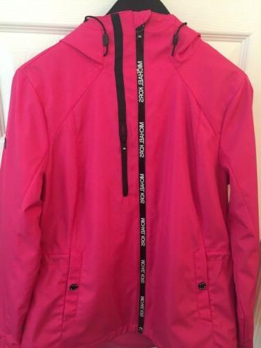 mk womens rain jacket coat pink waterproof
