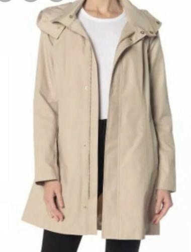 new packable beige raincoat with hidden hood