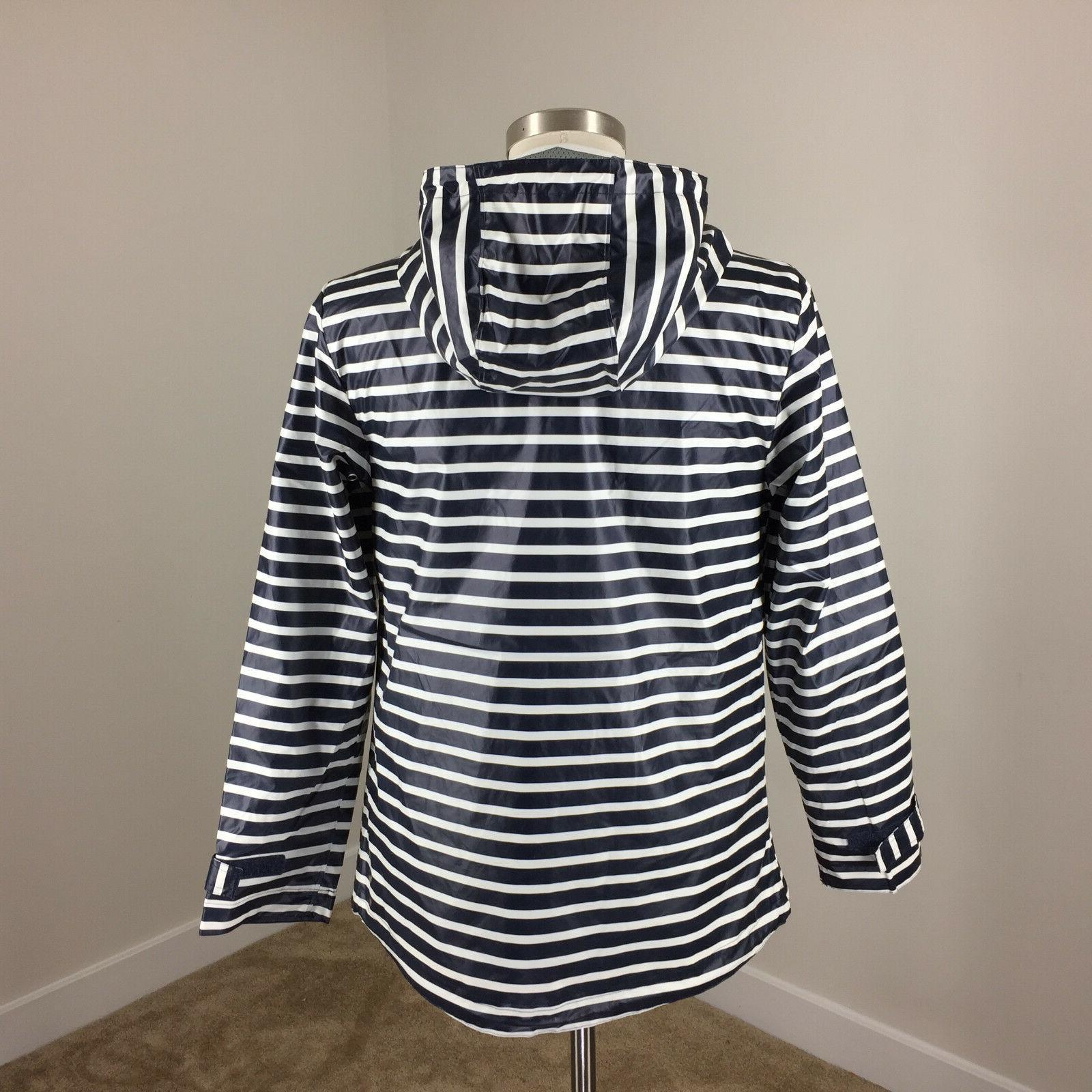 New River The Navy White Stripe Rain Coat Jacket