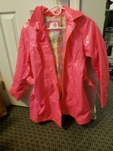 nwot neon pink rain coat girls size