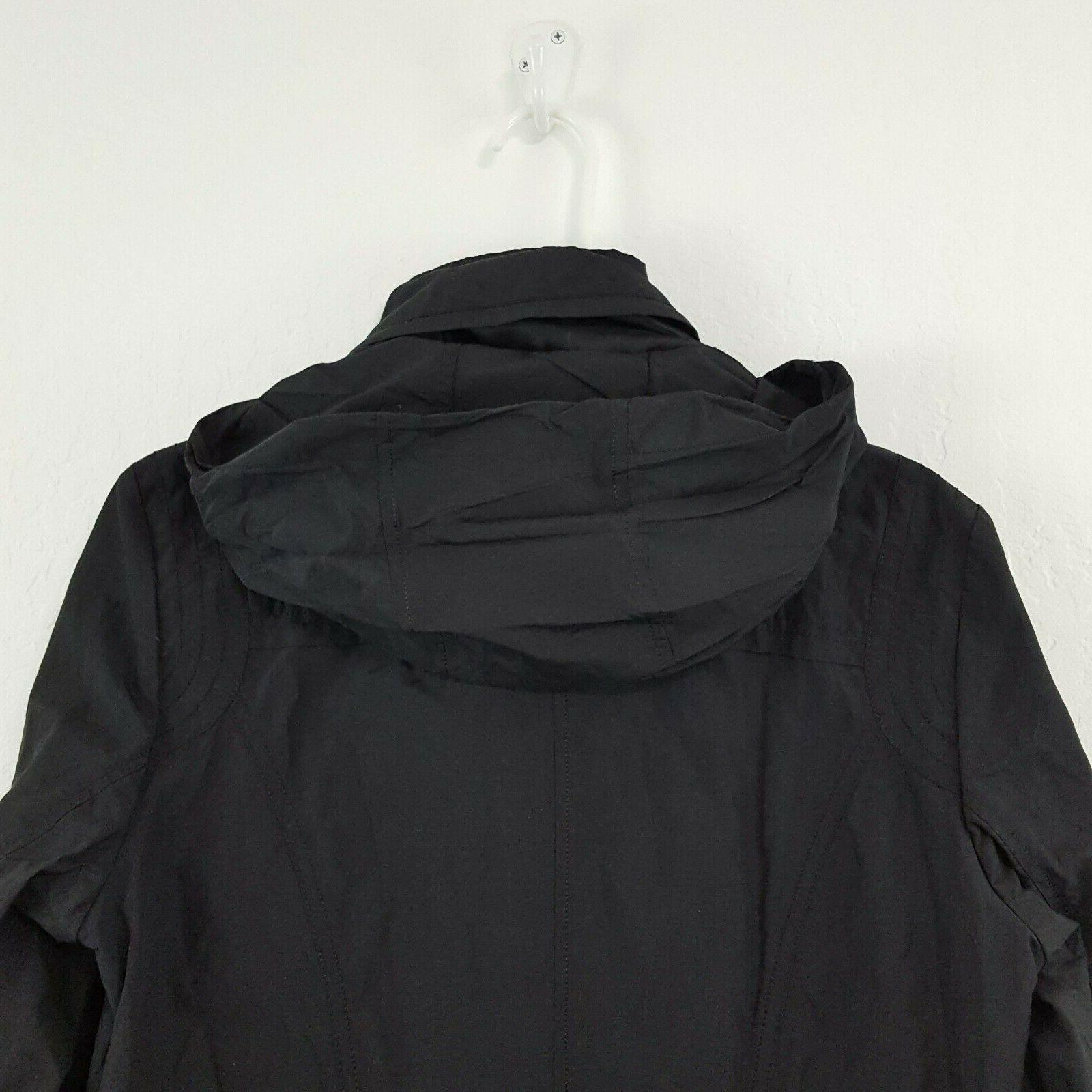 NWT Haan Black Hooded Raincoat Jacket Size Large Zip