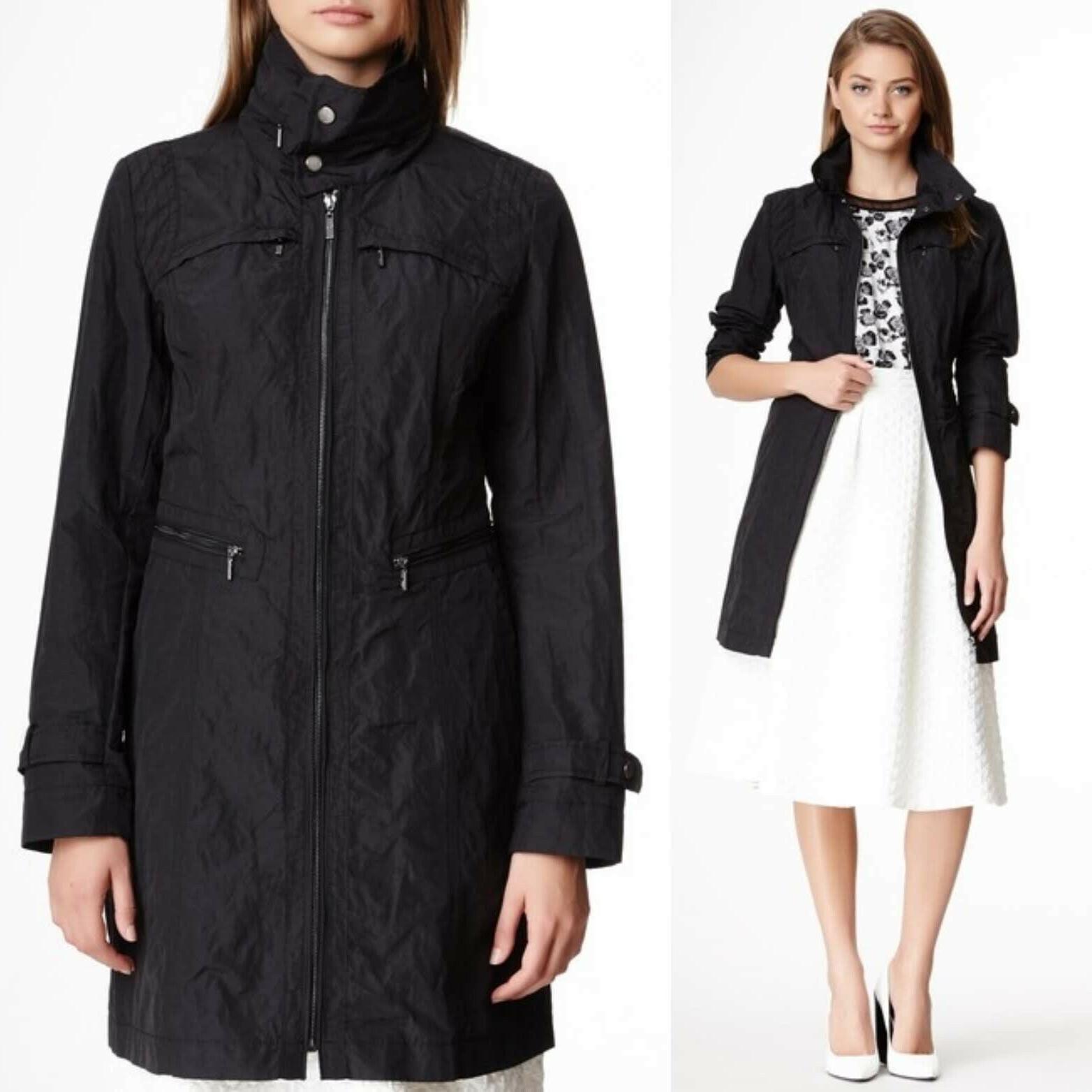 nwt black hooded packable raincoat jacket size