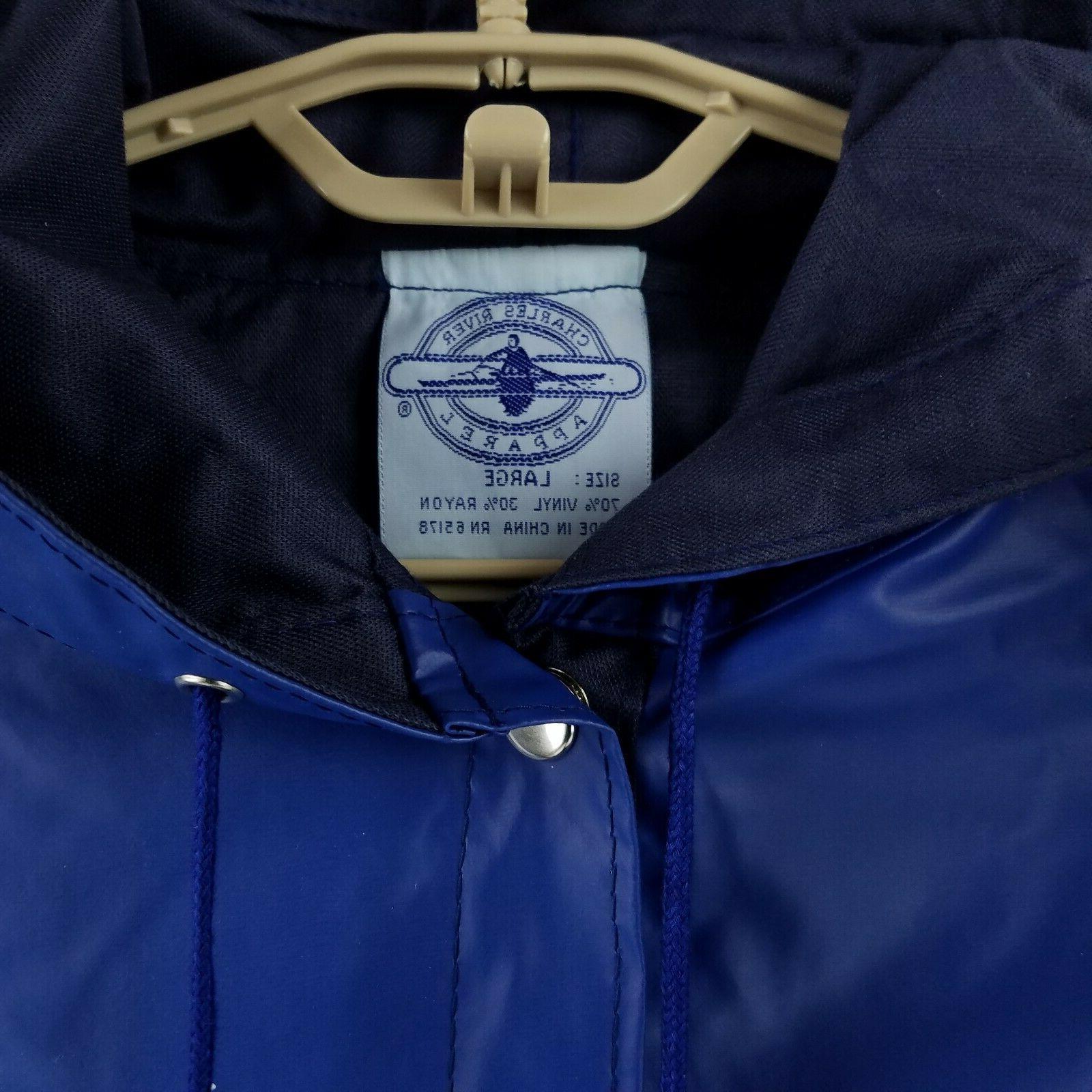 NWT Blue Waterproof Coat Knee Length Jacket Large