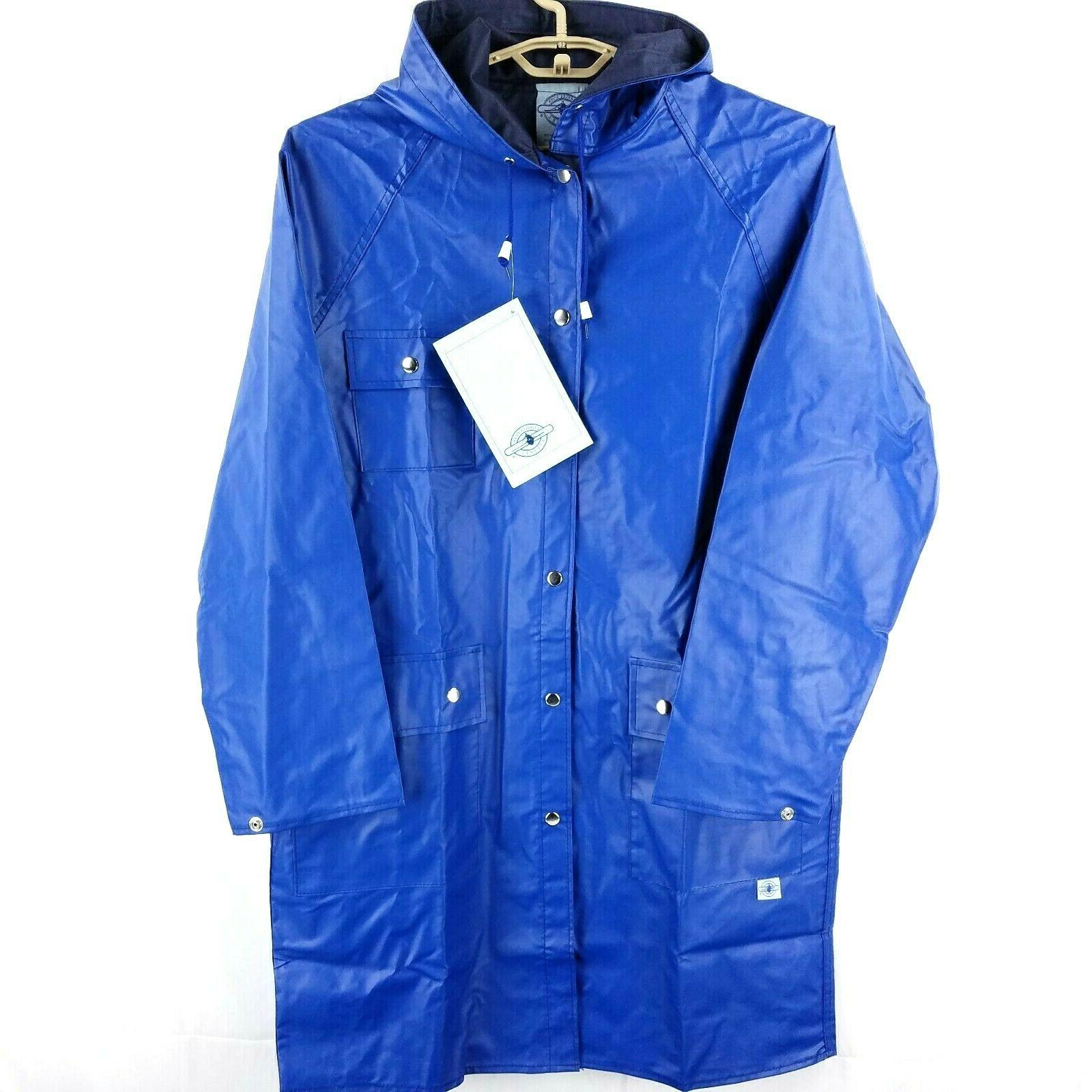 nwt blue waterproof rain coat knee length