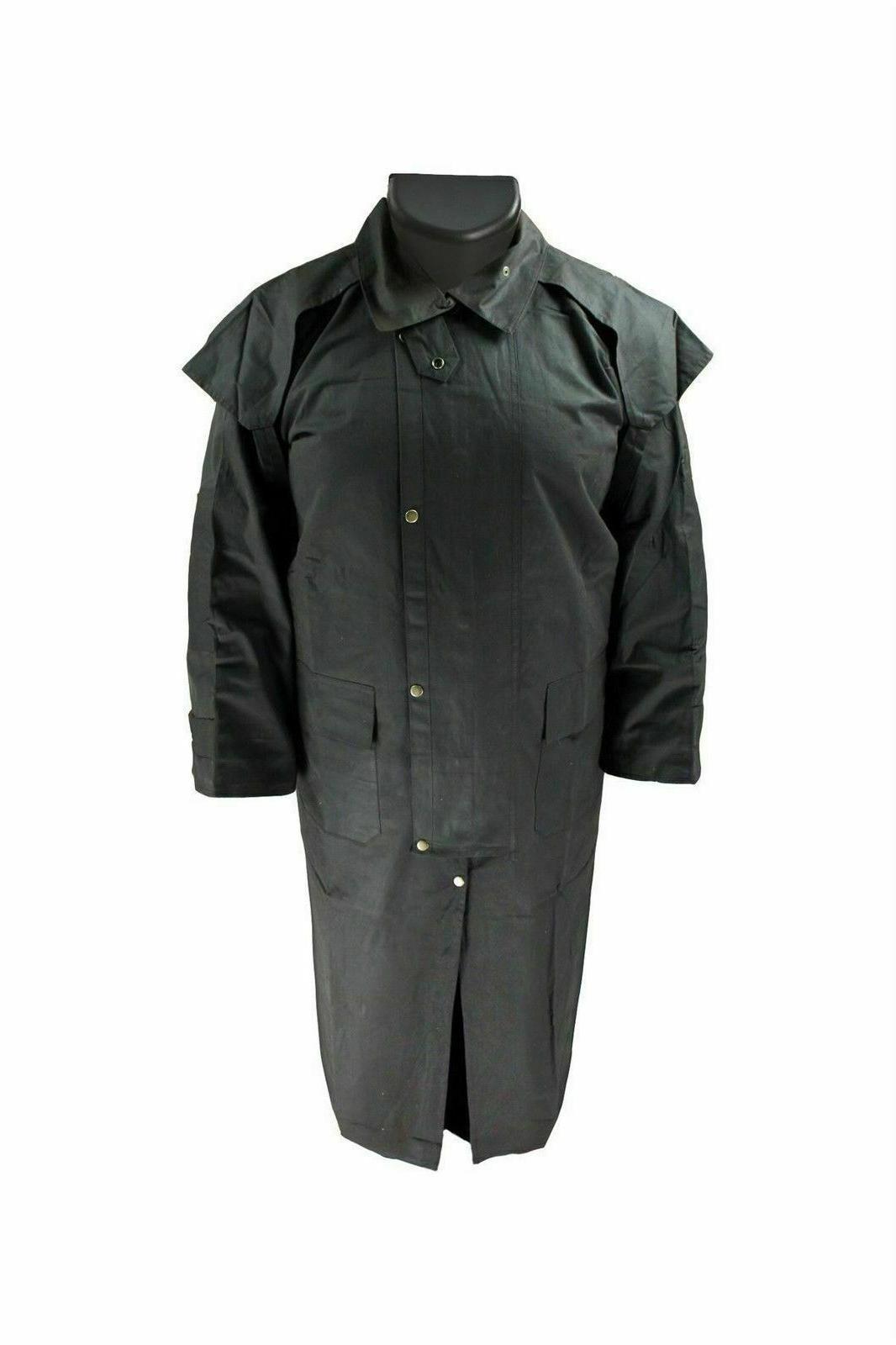oilskin coat jacket duster cotton waterproof black