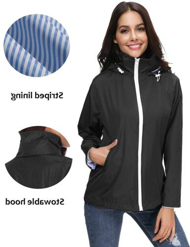 LOMON Women's Lightweight Hooded Waterproof