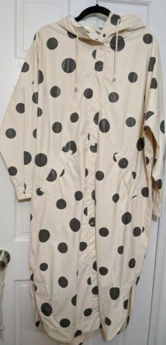 Monki oversized Polka Dot Hooded Rain Coat, Women's Size XS/