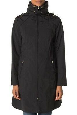 packable hooded rain coat in black size