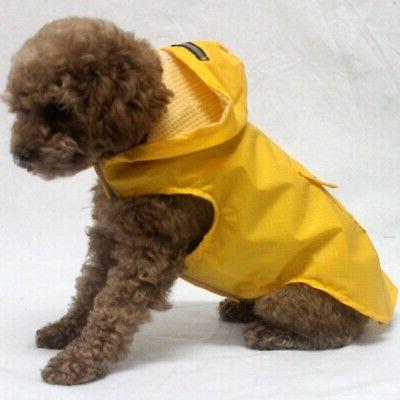 US Pet Dog Hooded Rain Reflective Coat Waterproof Rainwear J