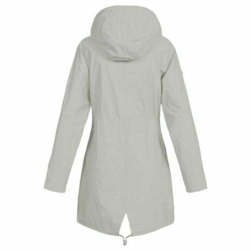 Plus Women Long Sleeve Hooded Lady Waterproof Coat