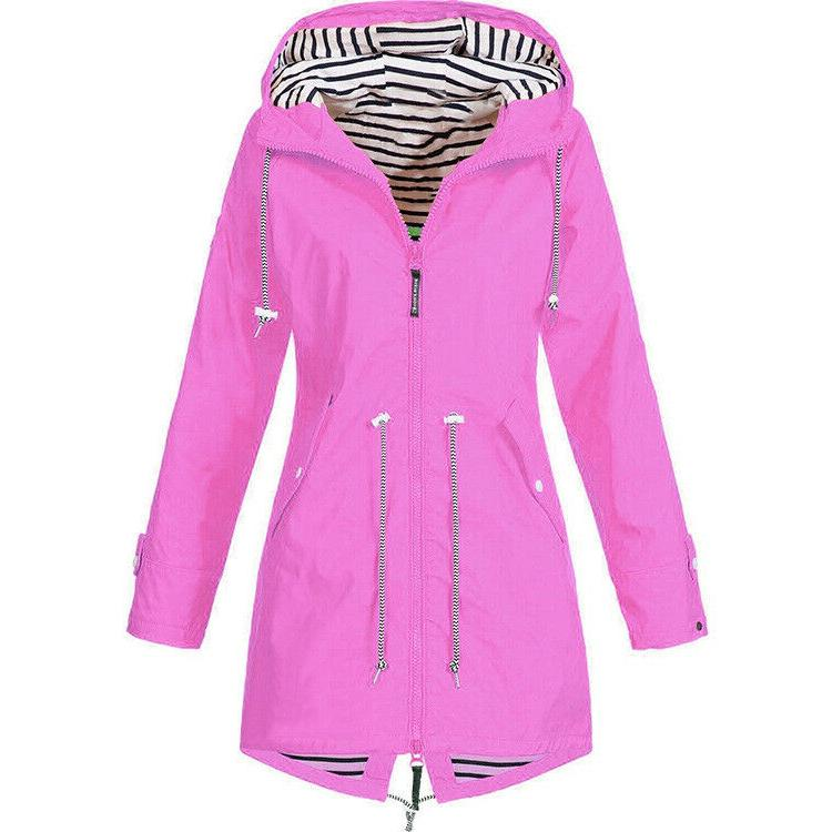 Plus Size Sleeve Hooded Lady Outdoor Rain Coat