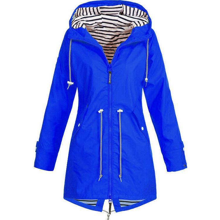 Plus Size Women Long Sleeve Hooded Wind Lady Coat
