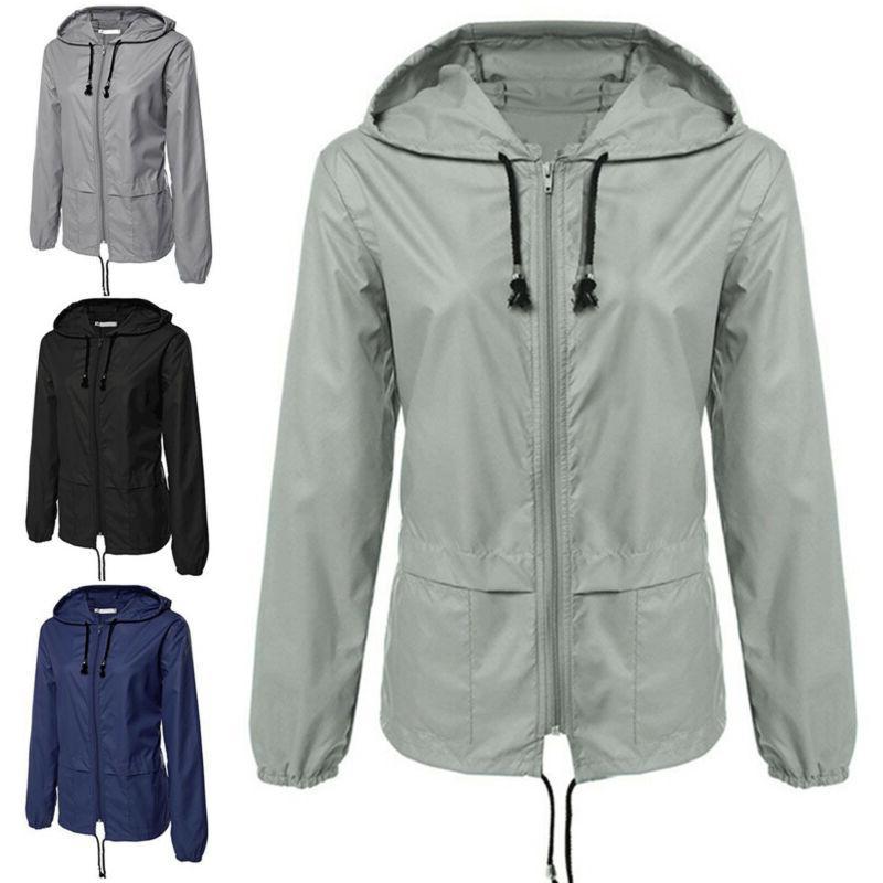 Women Rain Coat Hoodies Waterproof Jacket Outdoor Hooded Zip