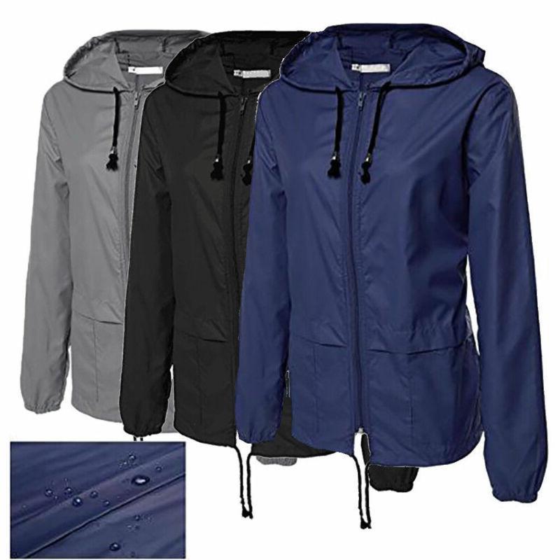 Women Rain Hoodies Jogging Windproof Jacket Overcoat