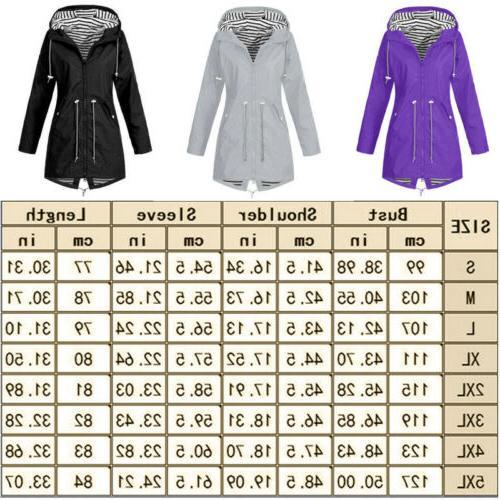Plus Size Women Waterproof Jacket Raincoat Hooded Mac USA