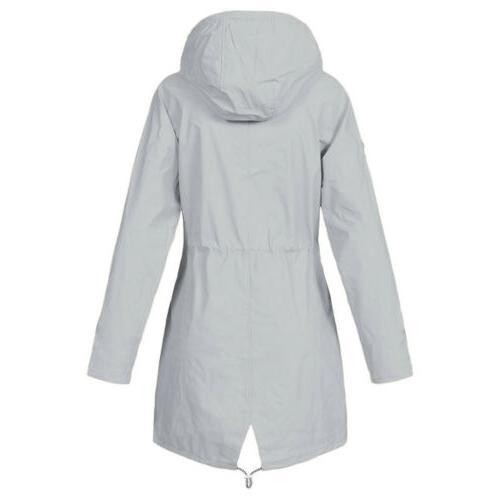 Plus Women Waterproof Jacket Raincoat Hooded Mac Coats Forest USA