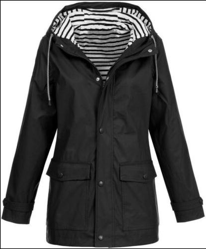 Plus Size Hooded Wind Rain Coat