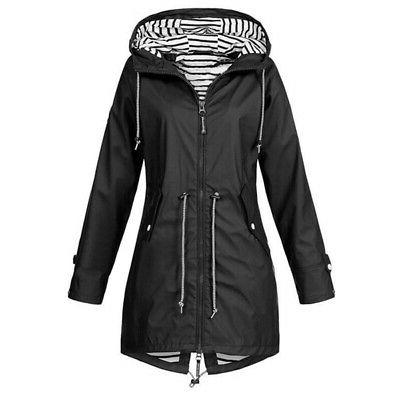 Warm Ladies Hooded Windbreaker Outdoor Waterproof Rain