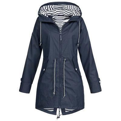 Plus Size Mac Wind Ladies Hooded Coat