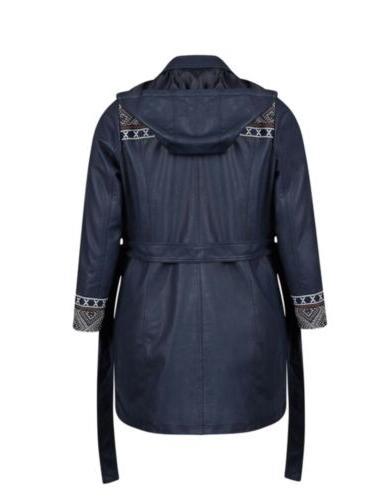 Jean Rain Jacket/Coat Leather Plus Size20/22 Navy