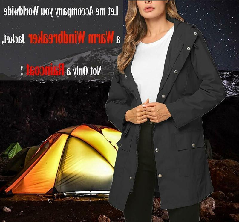 ZHENWEI Jacket Women Long Raincoat Rain Coat Waterproof Windbreaker f